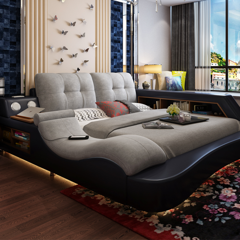 Usd leather fabric combination of smart master Master bedroom multifunctional tatami bed