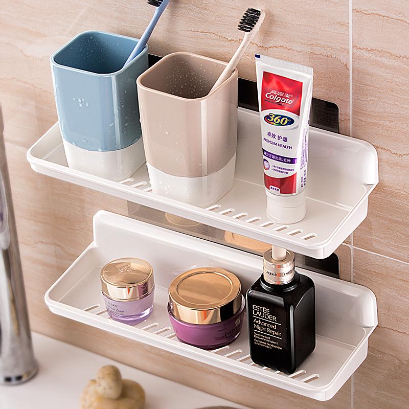 浴室免打孔置物架卫生间沥水无痕贴塑料摆放架壁挂化妆品收纳盒架