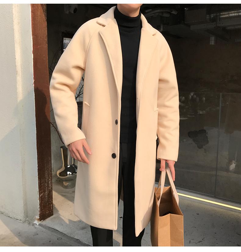 风衣男中长款韩版宽松学生呢子大衣过膝毛呢外套1211-N1079-P70
