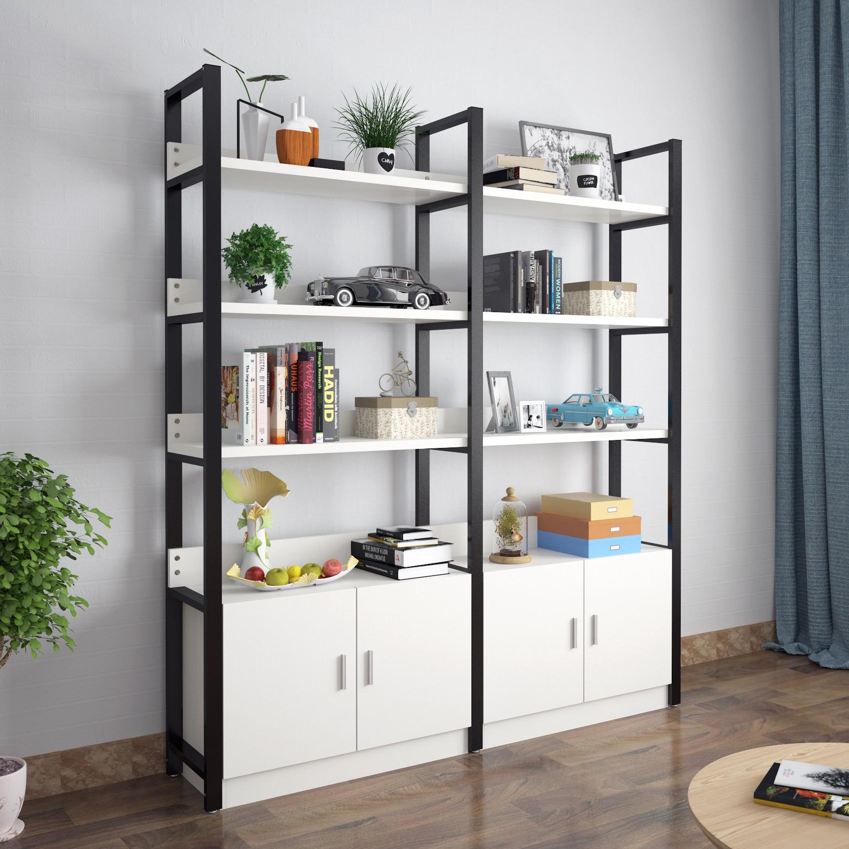 Shelf Simple Modern Iron Partition Shelf Simple Floor Steel Wooden Bookcase  Flower Shelf Living Room Multi
