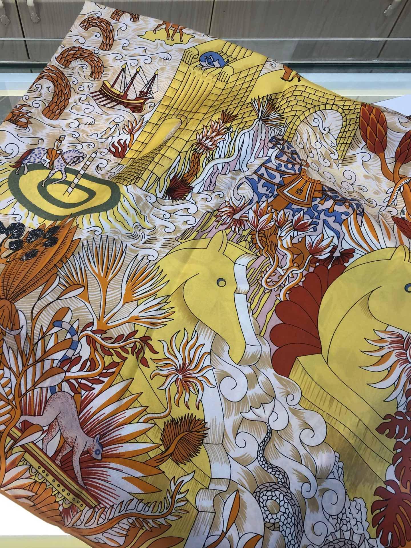 爱马仕真丝丝巾大方巾90*90宇宙图志 小红书同款 围巾批发杭州围巾生产厂家(图25)