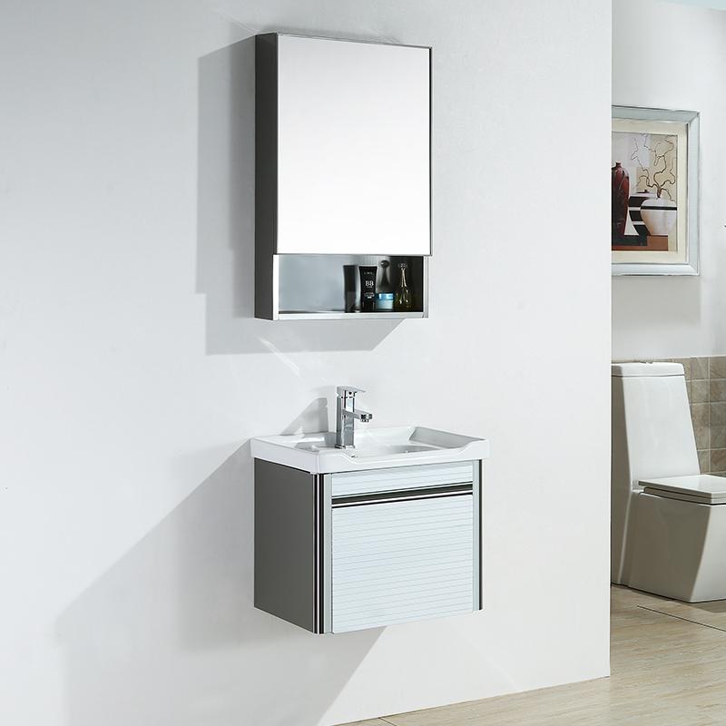 Bathroom Stainless Steel Bathroom Cabinet Combination Wash Basin Wash Basin Counter Basin Wash Basin Wall Cabinet Small Apartment Mirror Cabinet