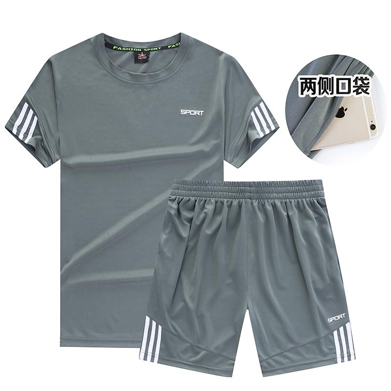 夏运动套装男士速干健身短裤休闲两件薄款运动衣服装短袖跑步服