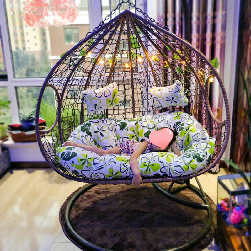 Hanging basket chair indoor wicker chair cradle rocking chair home chair lazy hammock hanging balcony blue chair outdoor swing