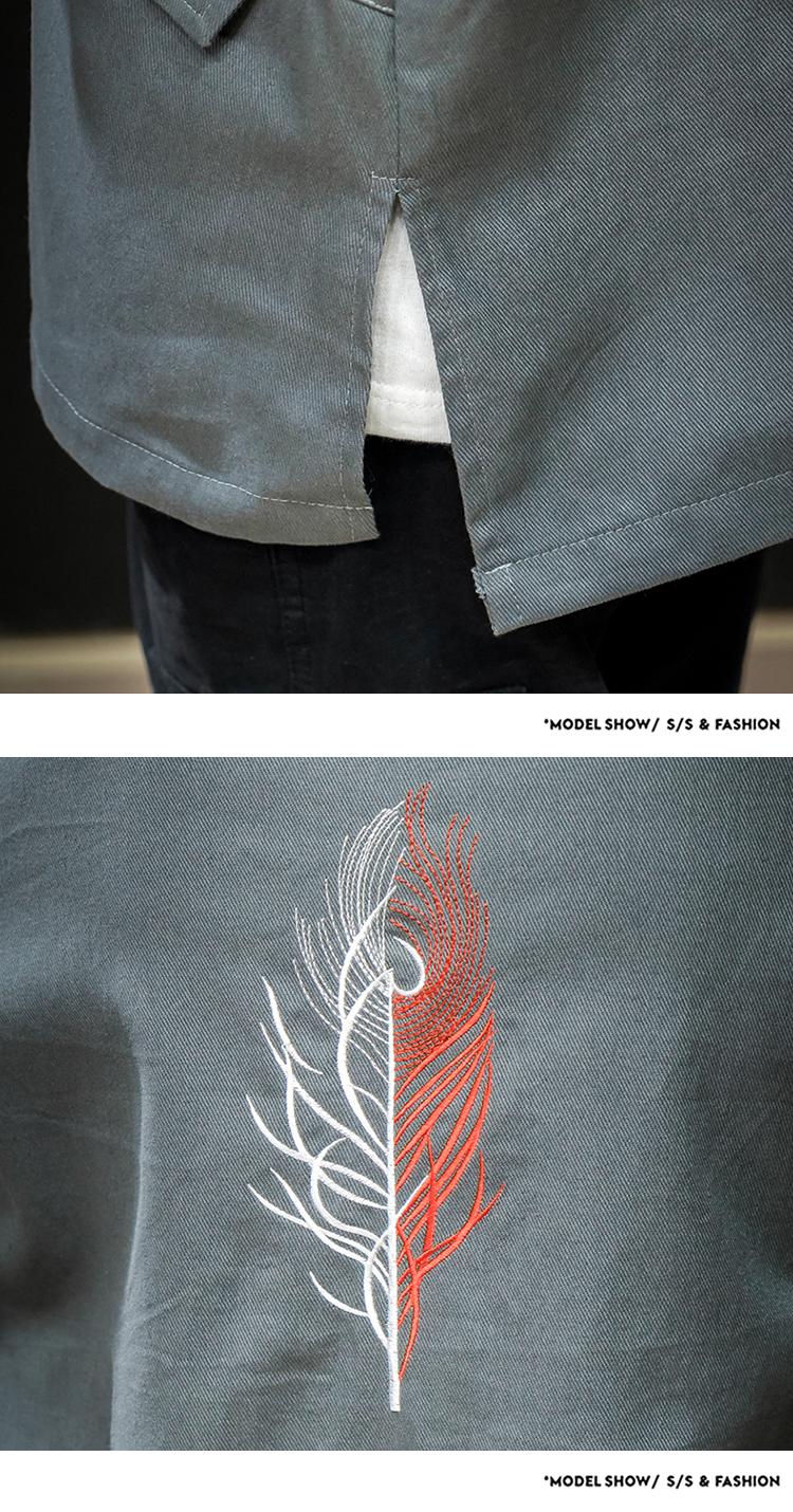 中国风日系刺绣休闲夹克风衣外套男818P80