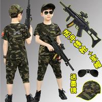 Шесть один детские вентилятор цвет одежда на мальчика Полевой коммандос комплект Детский форменный танец военный тренировочный костюм летний