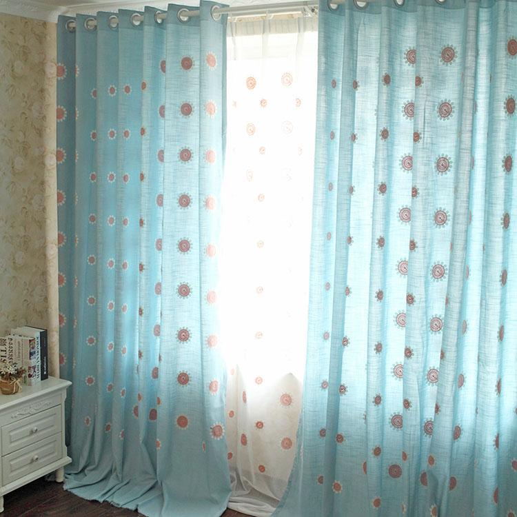 Шторы тканевые Индивидуальные пастырские вышитые шерсть хлопок готовые шторы для гостиной окна спальни детей Бэй цветок солнца