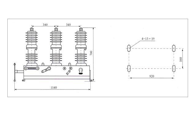 ZW32分界真空断路器安装尺寸图