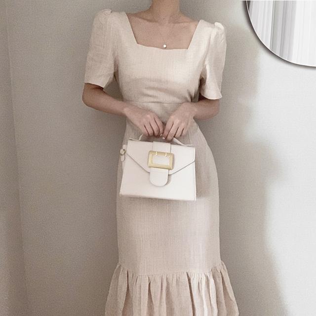 Hàn Quốc thanh lịch mùa hè retro khí chất vuông cổ áo túi hip cá đuôi mỏng váy giữa đầu gối - Sản phẩm HOT