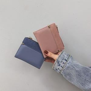 ins小钱包女短款2020新款韩版简约小清新撞色拉链搭扣折叠零钱夹