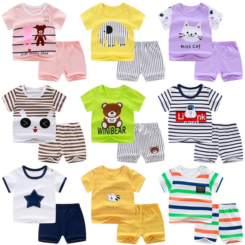 月亮家宝宝短袖套装纯棉2婴儿衣服小童儿童夏装1男童短裤女童3岁