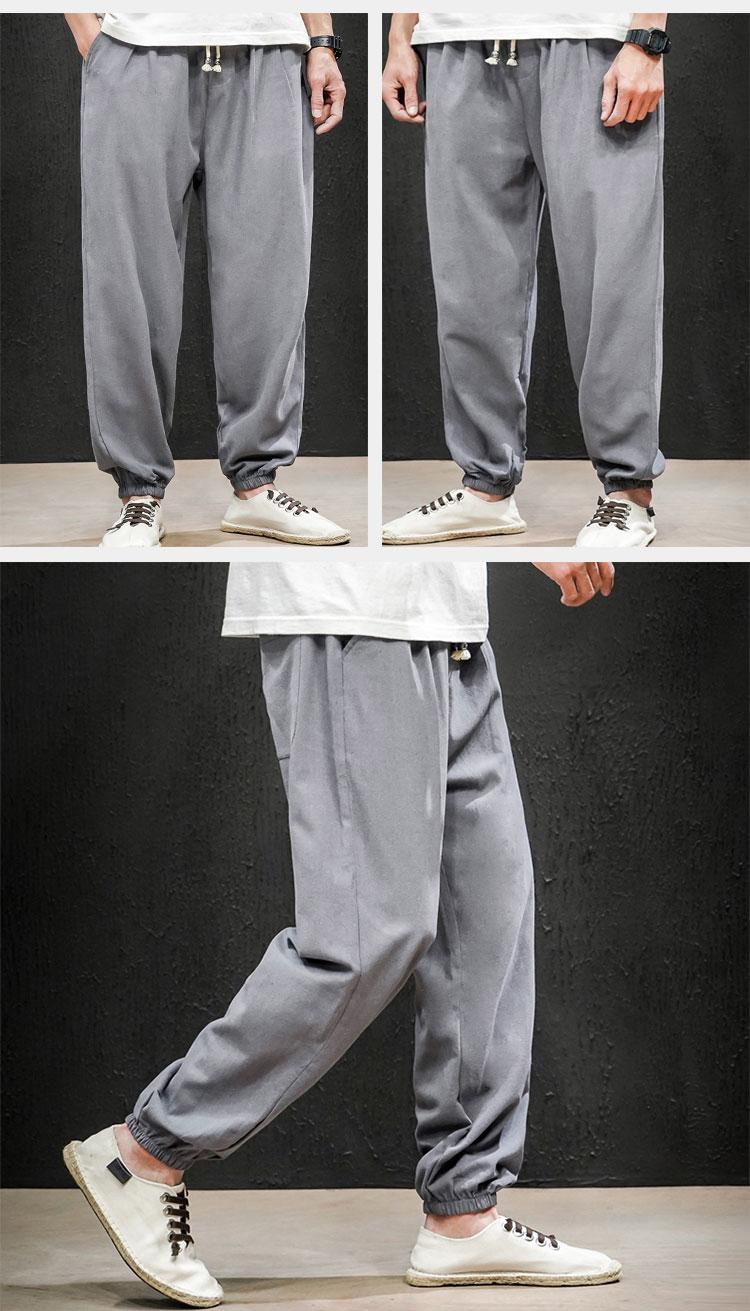 2020新款春季中国风男装大码休闲裤灯笼小脚裤男QT6008-1-K66-P65