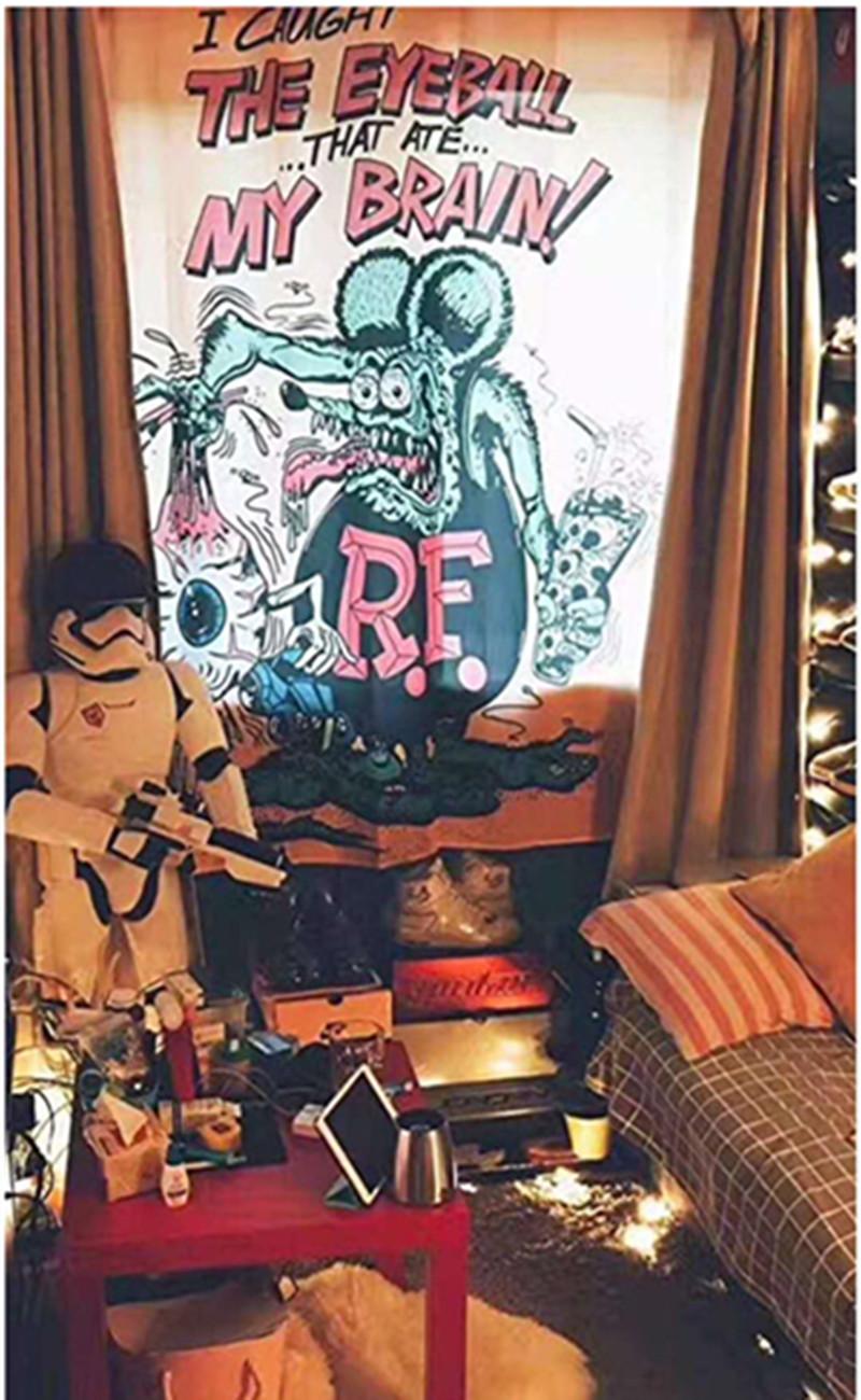 Thiết kế ban đầu tấm thảm hoạt hình cá tính in tấm thảm ảnh nền vải trang trí phòng ngủ homestay sáng tạo vẽ tay - Tapestry
