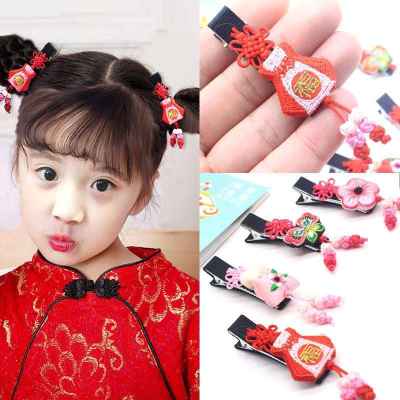 中国新年头花新款发夹过年喜庆儿童女童发卡鲤鱼福字红色边夹发饰