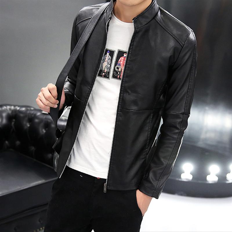 2017新款春秋季男士机车皮衣外套韩版修身短款pu皮夹克青年薄款潮
