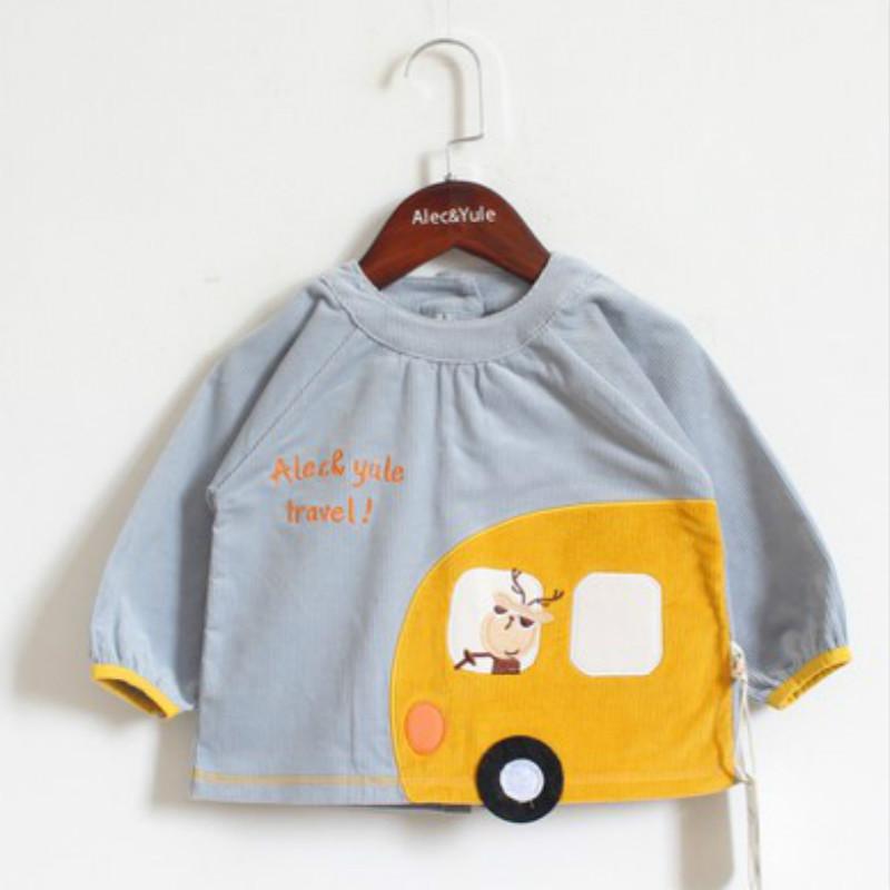 阿喜和悦宝宝灯芯绒罩衣儿童纯棉反穿衣防水男女孩吃饭衣婴儿围兜