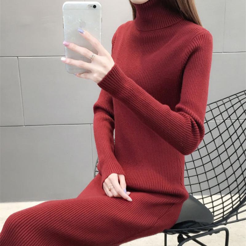 加厚长款毛衣裙针织连衣裙