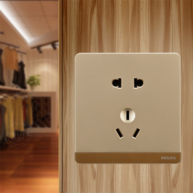 USD 1045 Philips Switch Socket Runaway Champagne Gold Five Hole