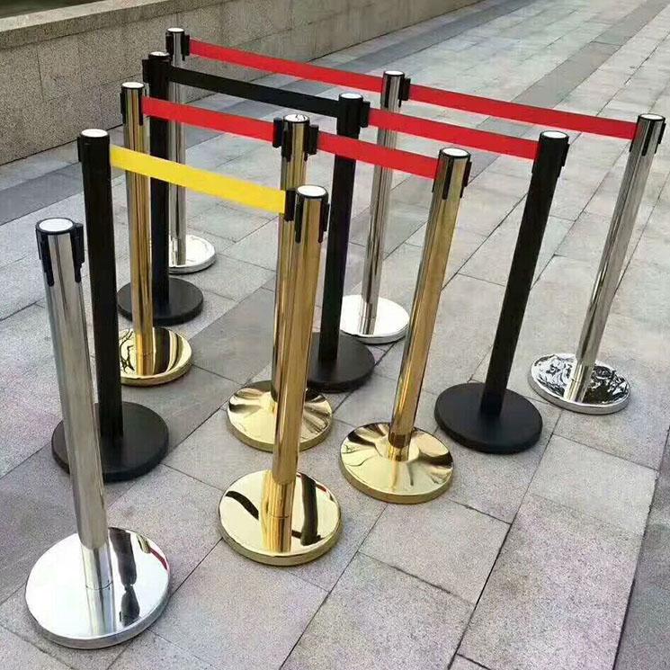 一米线栏杆不锈钢隔离带伸缩栏杆座机场银行警戒线围栏排队护栏柱
