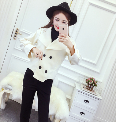 2017 new autumn and winter ladies fashion temperament loose double breasted wild woolen sexy short coat tide