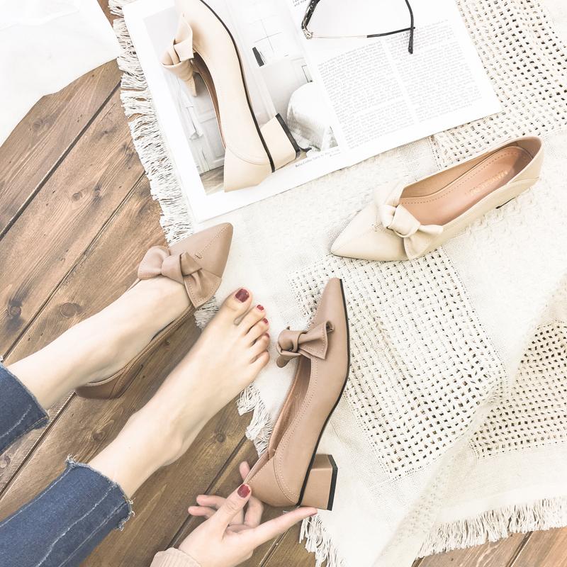 浅口尖头单鞋女学生2019新款春蝴蝶结低跟豆豆鞋懒人两穿粗跟瓢鞋