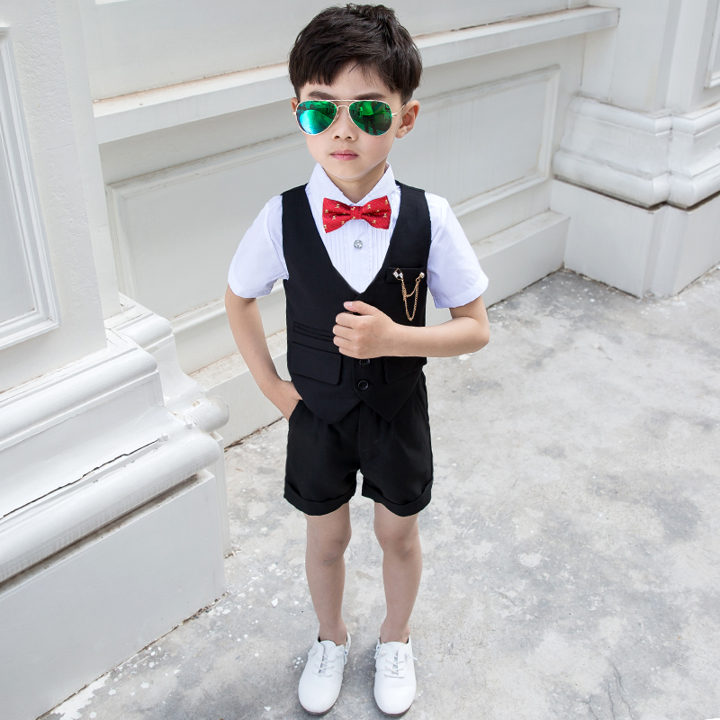 Boy's dress summer handsome British boy Host Children's suit suit wedding flower boy baby children's suit