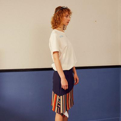 HOWL 深蓝色条纹拼接不对称半裙短裙鱼尾裙SK1253
