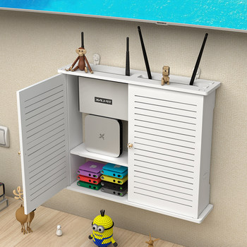 Wireless router storage box wall-mounted wifi set-top box rack multimedia decoration shielding from punching