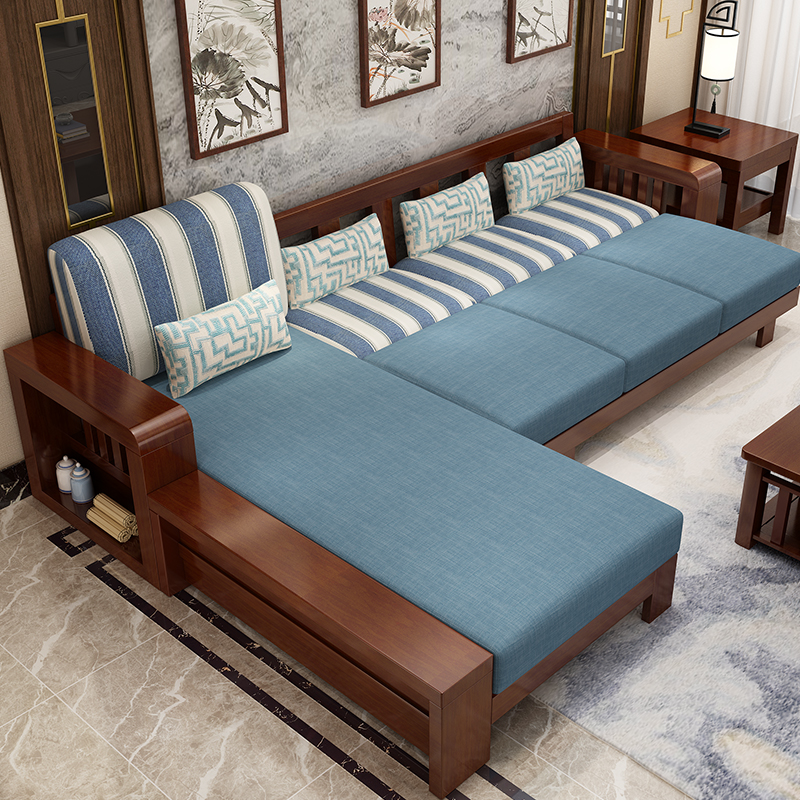 Solid Wood Sofa Combination New Chinese Furniture Bed Living Room Modern Minimalist Small Apartment Fabric