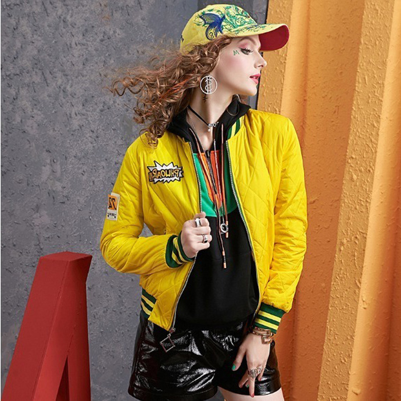 Autumn and winter long-sleeved short coat women's European station 2020 new color-collage baseball uniform hundred tie collar clip cotton clothing tide 14 Online shopping Bangladesh