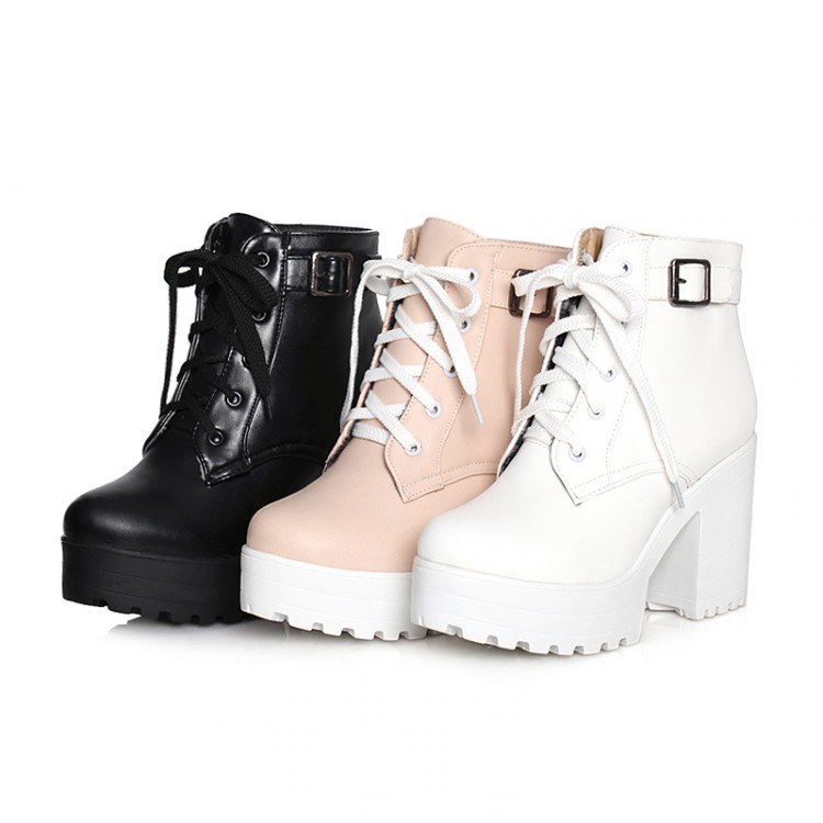 0ab5ee47a1b Womens Punk Chunky Heel Platform lace Up Buckle Strap Ankle Boot Shoes Plus  Size