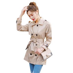 风衣女中长款2019韩版新款春季双排扣收腰显瘦大衣休闲时尚外套潮