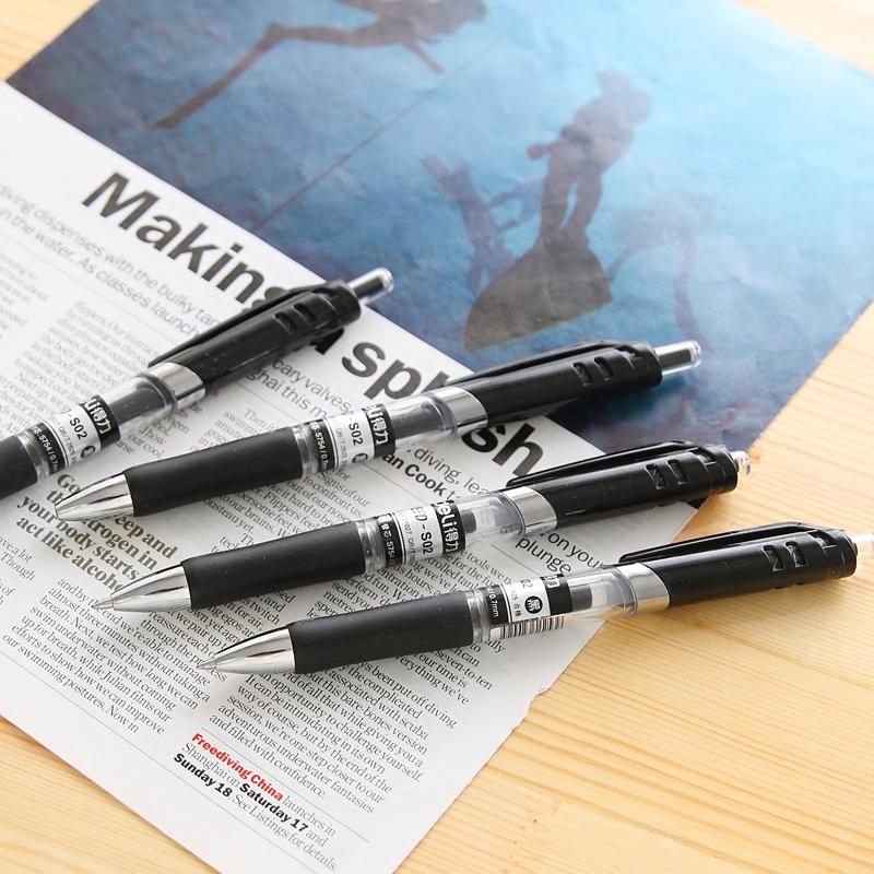 得力办公用品中性笔签字笔水笔学生文具0.7mm按动走珠笔办公用品