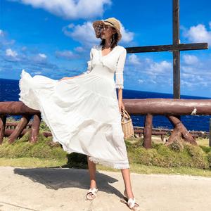 泰國氣質海邊度假白色連衣裙夏仙女裙子超仙顯瘦巴厘島沙灘裙