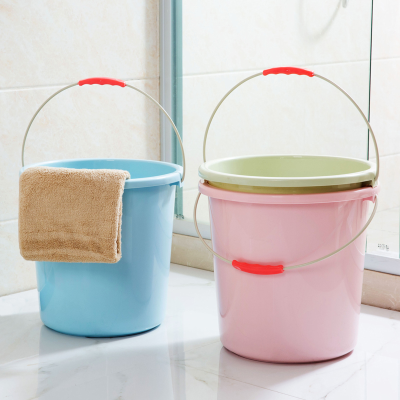 USD 7.42] Plastic portable small buckets household thickened Laundry ...