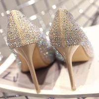 Серебряный Свадебные туфли подружки невесты женские 2019 новая коллекция новый Мать Кристалл Обувь Французская Девушка на высоком каблуке Туфли женские тонкие с дикой сеткой красный
