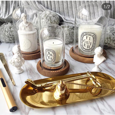 Aromatherapy glass candlestick Diptyqu heat-resistant transparent glass turk hood home candle ornaments windproof glass cover