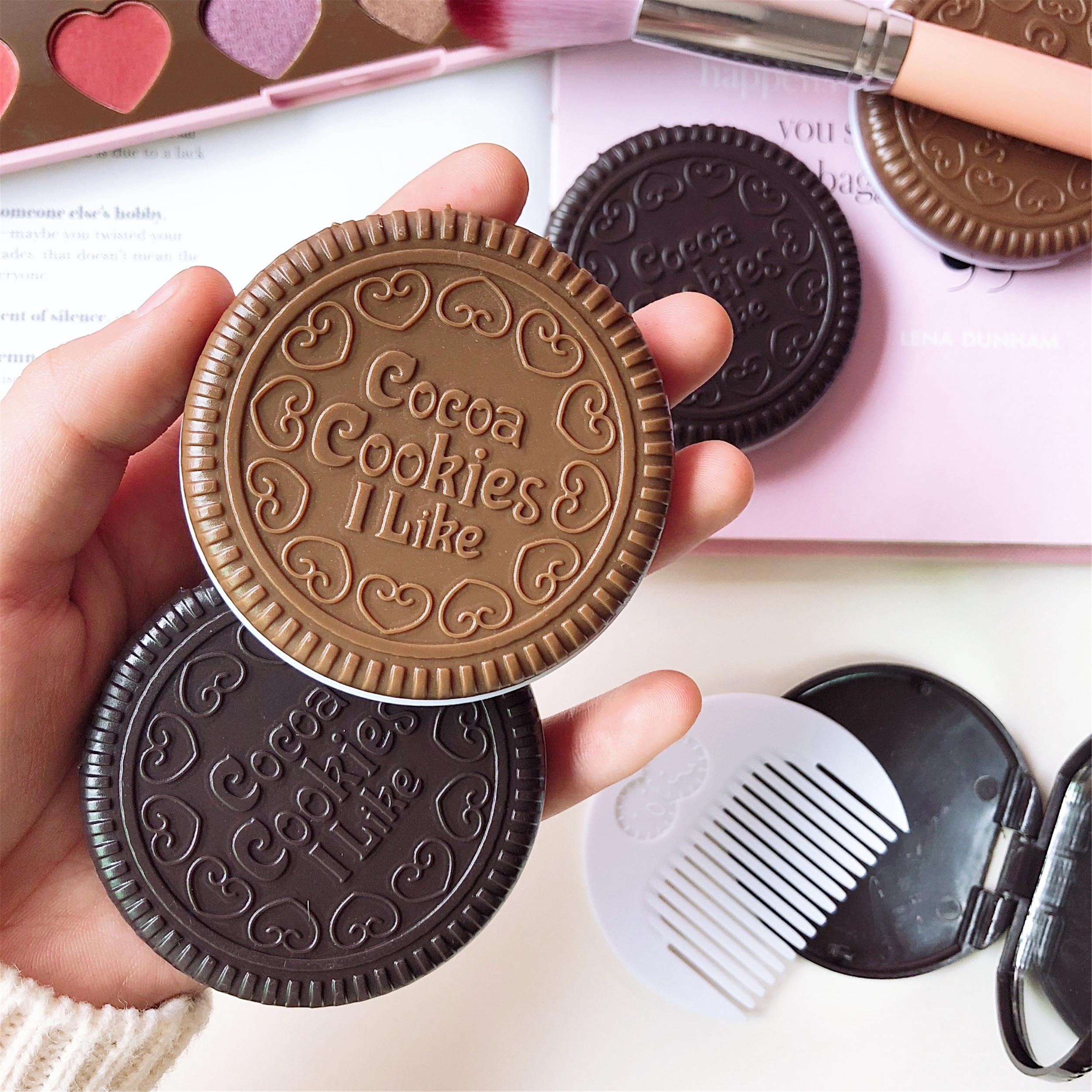 创意可爱奥利奥巧克力夹心饼干镜子便携随身镜迷你折叠镜化妆镜