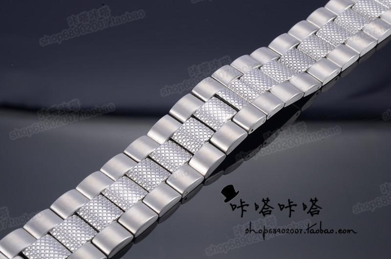 全钢实心表带精钢不锈钢手表链24MM男款时尚钢带加宽厚实拉丝面