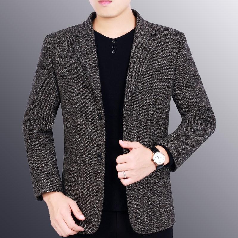 2019春秋新款中年单件西装v单件西服商务男士薄款韩版帅气上衣外套