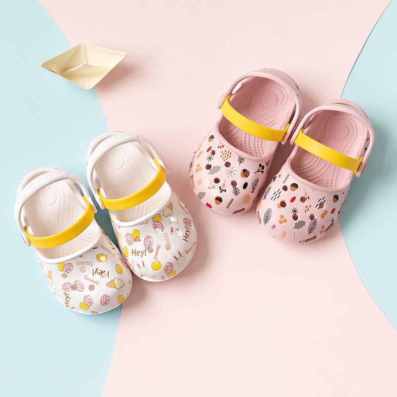 宝宝拖鞋夏季1-3岁女童凉拖可爱公主幼儿室内防滑软底2小孩洞洞鞋