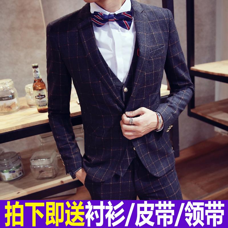 男士新郎男修身韩版婚礼结婚西装休闲夏季礼服套装三格子件套西服