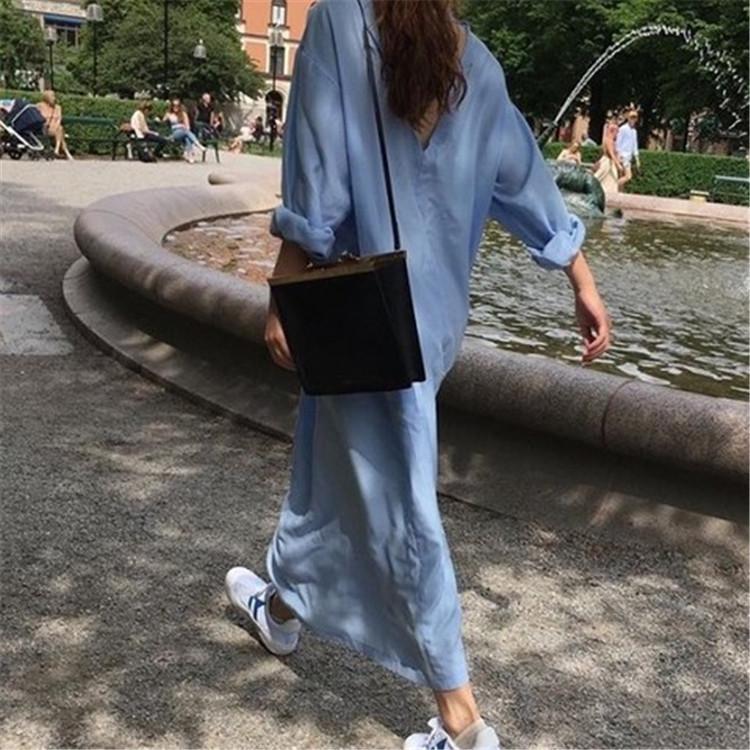 2019春装新款bf超长款过膝宽松韩版衬衫女oversize大款长款衬衣裙