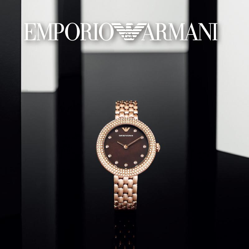 【双十一预售】文淇同款阿玛尼玫瑰小圆盘女手表轻奢石英AR11418