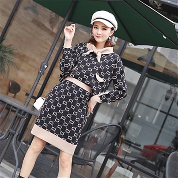 韩版冬加厚高腰小香风双g毛衣针织衫上衣+短裙两件套时尚套装裙女