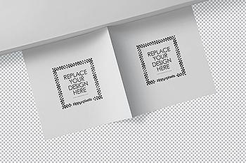方形对折页宣传手册设计效果图样机 Square Bifold Brochure Mockups