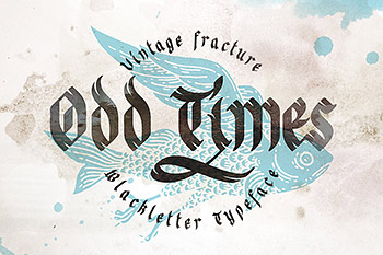 复古字体手写艺术英文 Odd times gothic font with graphics