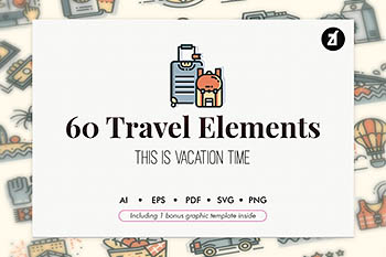 60个旅行元素矢量图标icon大集合