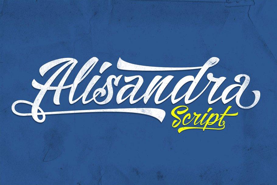 霸气的手绘英文字体 Alisandra sc<x>ript设计素材模板
