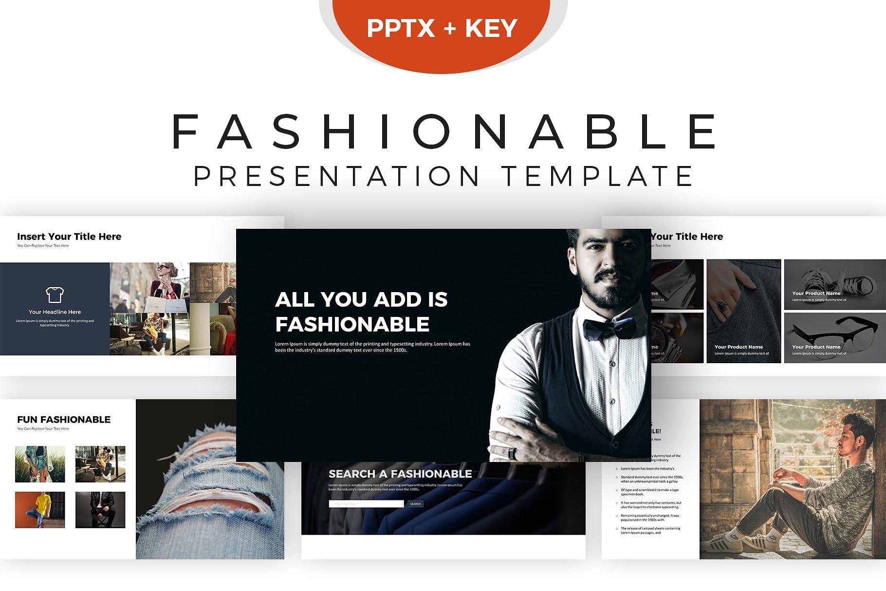 现代时尚演示的幻灯片模板下载 Fashionable Presentation Template [keypptx]设计素材模板